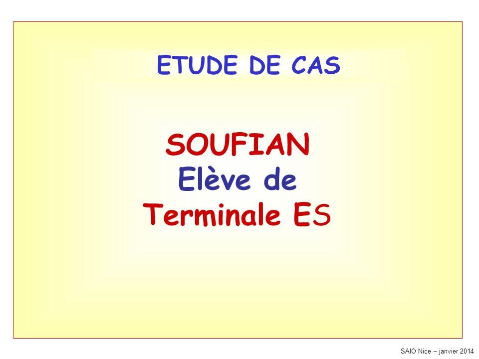 SAIO Nice – janvier 2014 SOUFIAN Elève de Terminale ES ETUDE DE CAS