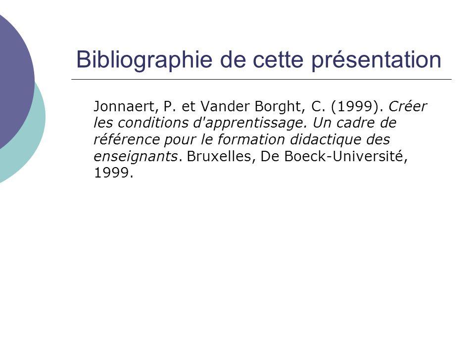 Bibliographie de cette présentation Jonnaert, P. et Vander Borght, C. (1999). Créer les conditions d'apprentissage. Un cadre de référence pour le form