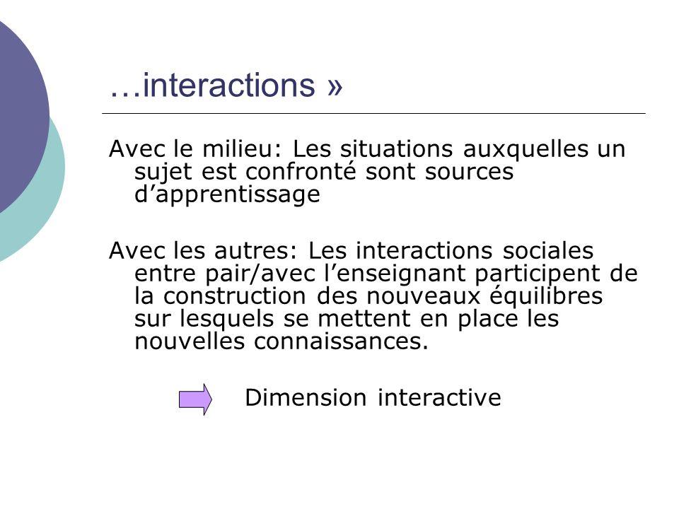 …interactions » Avec le milieu: Les situations auxquelles un sujet est confronté sont sources d'apprentissage Avec les autres: Les interactions social