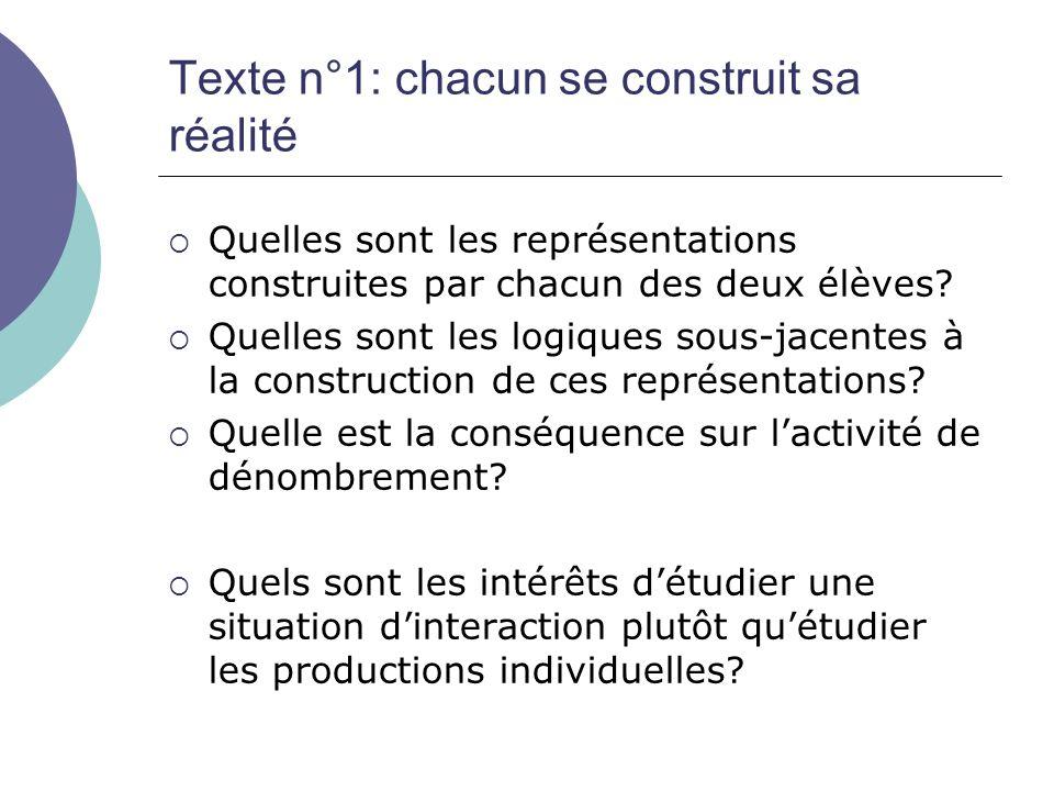 Texte n°1: chacun se construit sa réalité  Quelles sont les représentations construites par chacun des deux élèves?  Quelles sont les logiques sous-