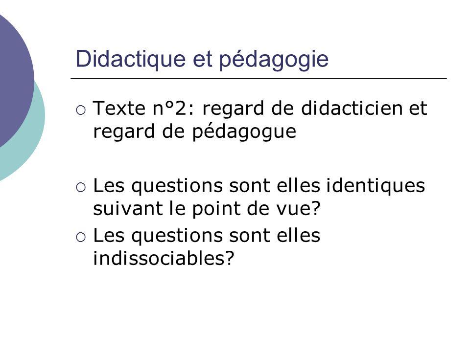 Didactique et pédagogie  Texte n°2: regard de didacticien et regard de pédagogue  Les questions sont elles identiques suivant le point de vue?  Les