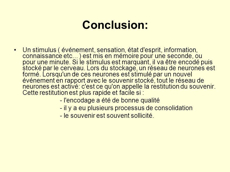 Conclusion: •Un stimulus ( événement, sensation, état d'esprit, information, connaissance etc... ) est mis en mémoire pour une seconde, ou pour une mi