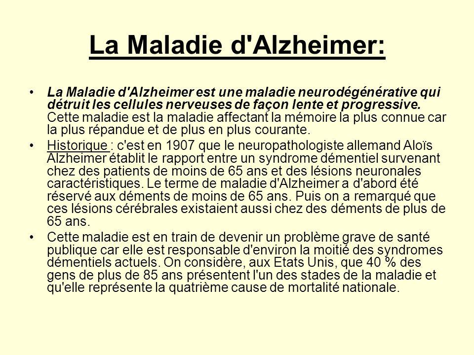 La Maladie d'Alzheimer: •La Maladie d'Alzheimer est une maladie neurodégénérative qui détruit les cellules nerveuses de façon lente et progressive. Ce