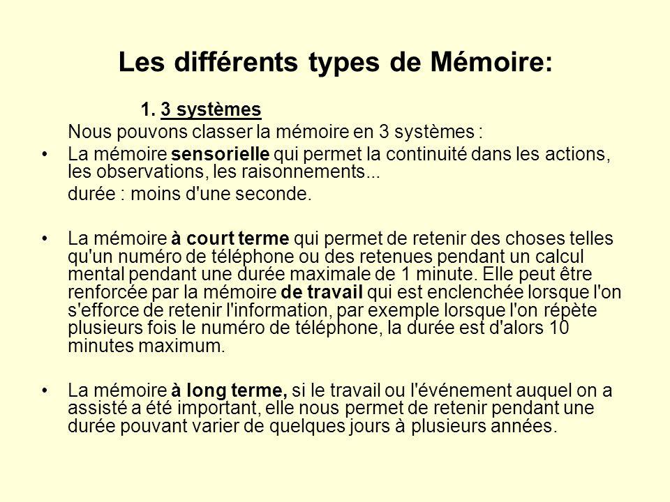 Les différents types de Mémoire: 1. 3 systèmes Nous pouvons classer la mémoire en 3 systèmes : •La mémoire sensorielle qui permet la continuité dans l
