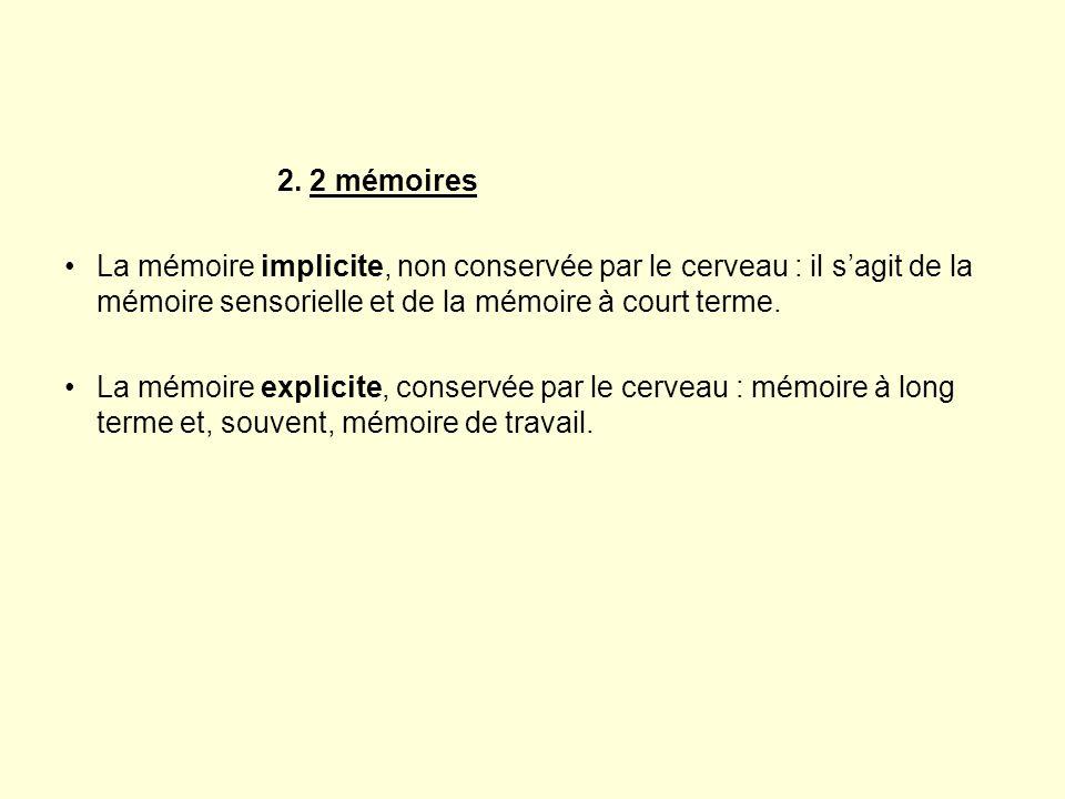 2. 2 mémoires •La mémoire implicite, non conservée par le cerveau : il s'agit de la mémoire sensorielle et de la mémoire à court terme. •La mémoire ex
