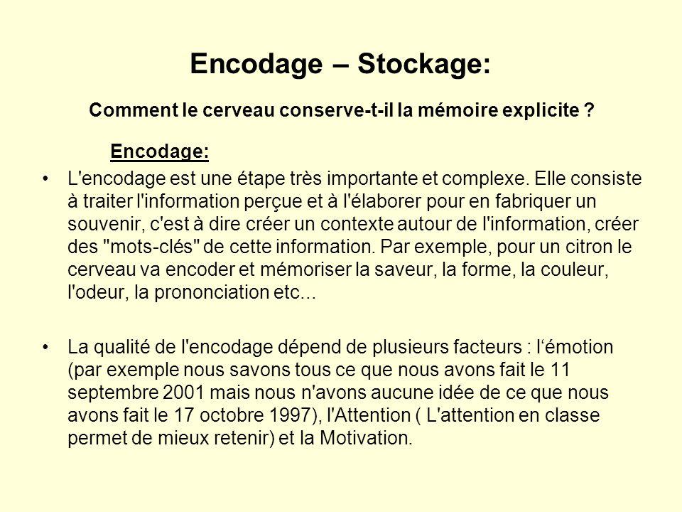 Encodage – Stockage: Comment le cerveau conserve-t-il la mémoire explicite ? Encodage: •L'encodage est une étape très importante et complexe. Elle con