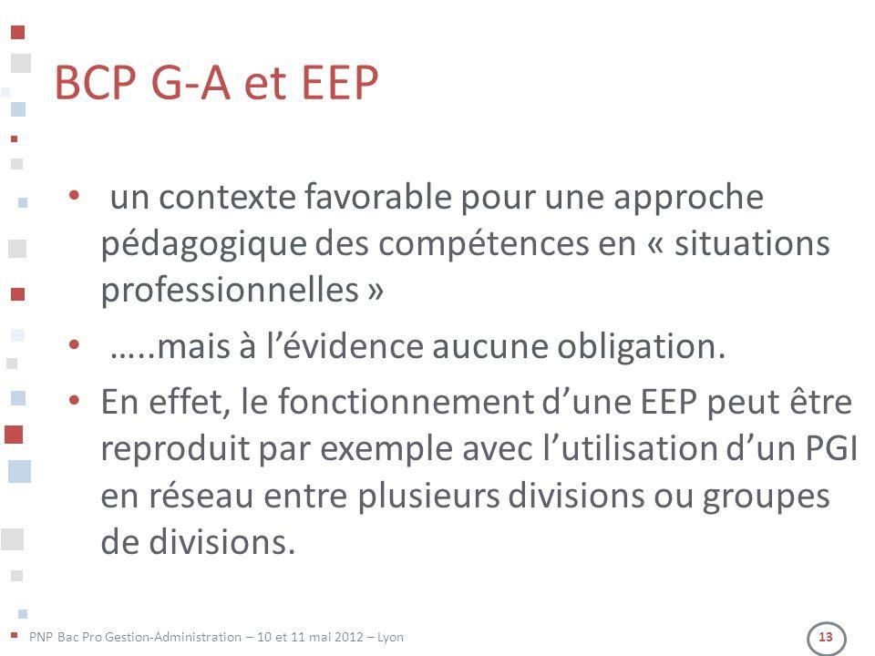 PNP Bac Pro Gestion-Administration – 10 et 11 mai 2012 – Lyon 13 BCP G-A et EEP • un contexte favorable pour une approche pédagogique des compétences