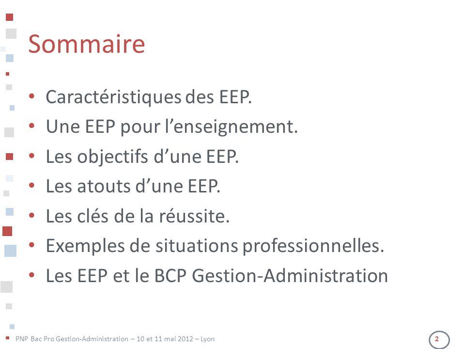 PNP Bac Pro Gestion-Administration – 10 et 11 mai 2012 – Lyon 2 Sommaire • Caractéristiques des EEP. • Une EEP pour l'enseignement. • Les objectifs d'