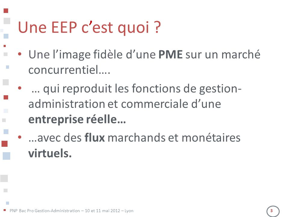 PNP Bac Pro Gestion-Administration – 10 et 11 mai 2012 – Lyon 3 Une EEP c'est quoi ? • Une l'image fidèle d'une PME sur un marché concurrentiel…. • …