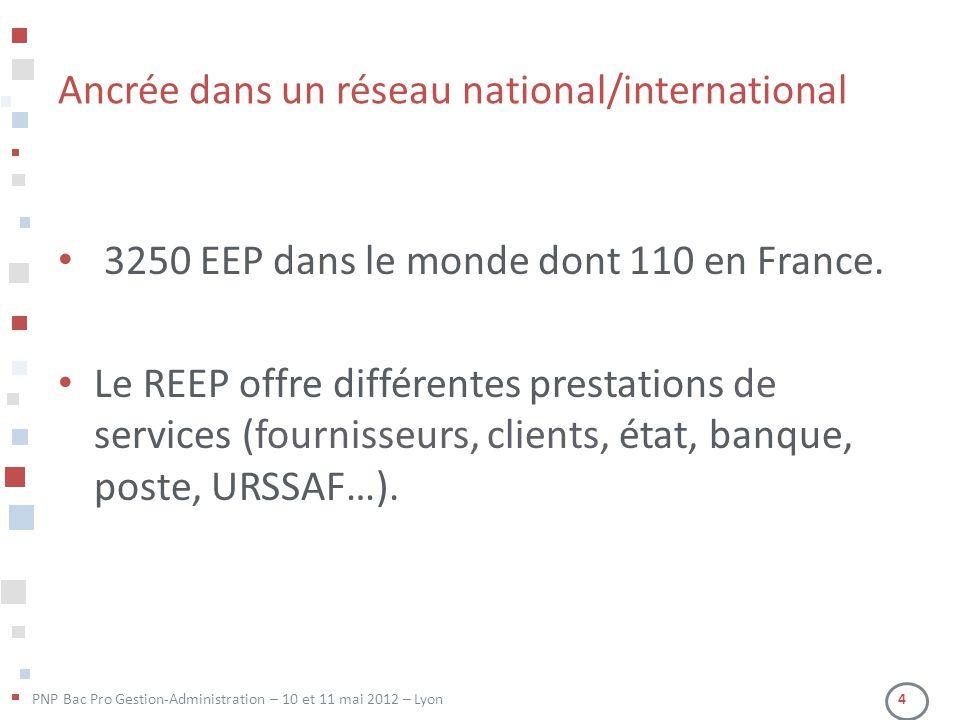 PNP Bac Pro Gestion-Administration – 10 et 11 mai 2012 – Lyon 4 Ancrée dans un réseau national/international • 3250 EEP dans le monde dont 110 en Fran