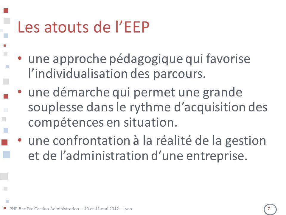 PNP Bac Pro Gestion-Administration – 10 et 11 mai 2012 – Lyon 7 Les atouts de l'EEP • une approche pédagogique qui favorise l'individualisation des pa
