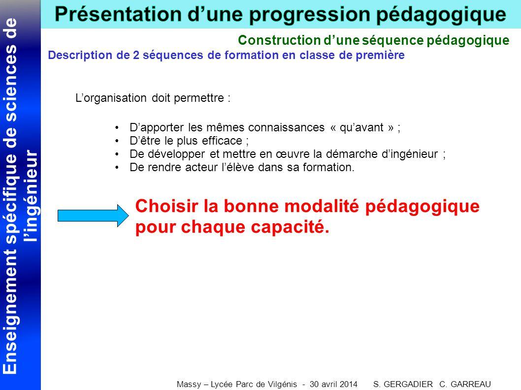 Enseignement spécifique de sciences de l'ingénieur Massy – Lycée Parc de Vilgénis - 30 avril 2014 S. GERGADIER C. GARREAU Construction d'une séquence