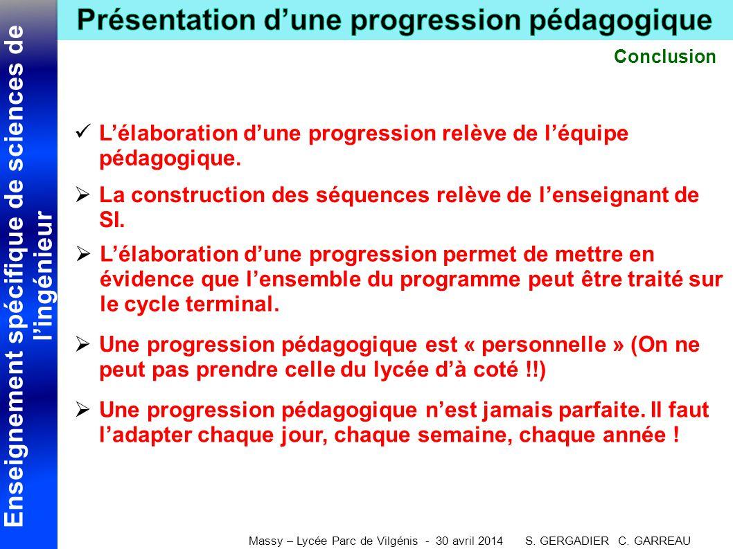 Enseignement spécifique de sciences de l'ingénieur Massy – Lycée Parc de Vilgénis - 30 avril 2014 S. GERGADIER C. GARREAU Conclusion  L'élaboration d