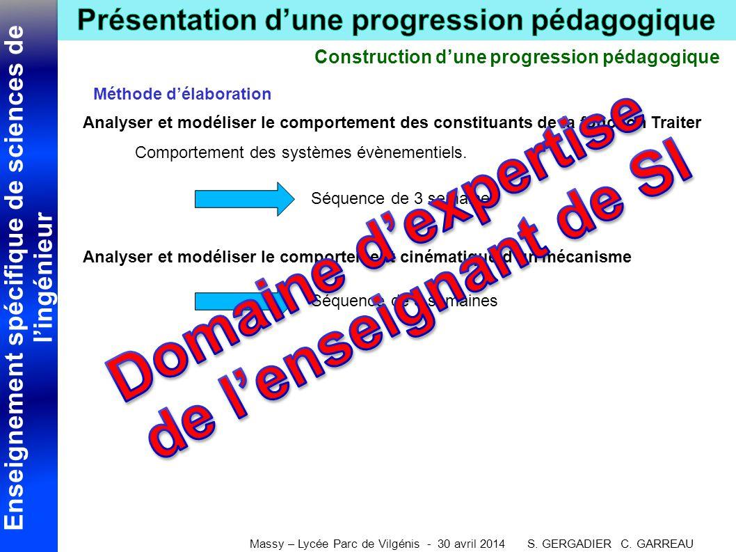 Enseignement spécifique de sciences de l'ingénieur Massy – Lycée Parc de Vilgénis - 30 avril 2014 S. GERGADIER C. GARREAU Construction d'une progressi