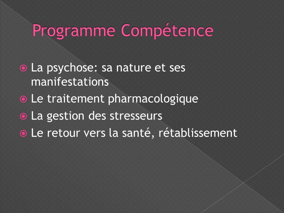  La psychose: sa nature et ses manifestations  Le traitement pharmacologique  La gestion des stresseurs  Le retour vers la santé, rétablissement