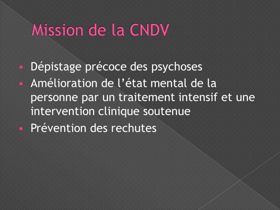  Dépistage précoce des psychoses  Amélioration de l'état mental de la personne par un traitement intensif et une intervention clinique soutenue  Pr