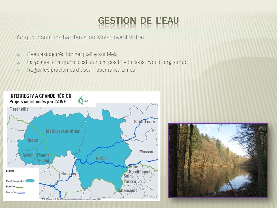 Ce que disent les habitants de Meix-devant-Virton  L'eau est de très bonne qualité sur Meix  La gestion communale est un point positif – la conserver à long terme  Régler les problèmes d'assainissement à Limes