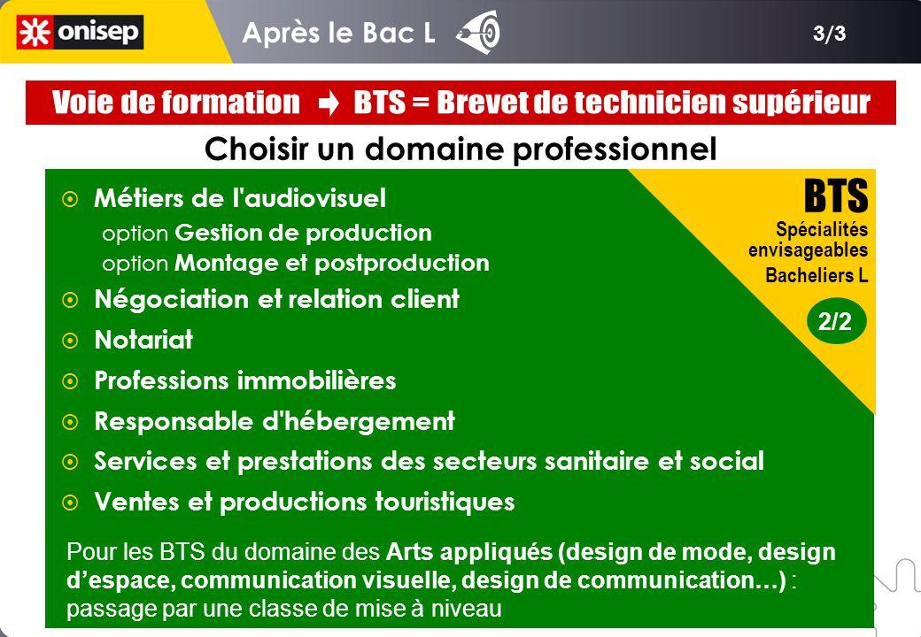 3/3 Après le Bac L Choisir un domaine professionnel 2/2 BTS Spécialités envisageables Bacheliers L  Métiers de l'audiovisuel option Gestion de produc