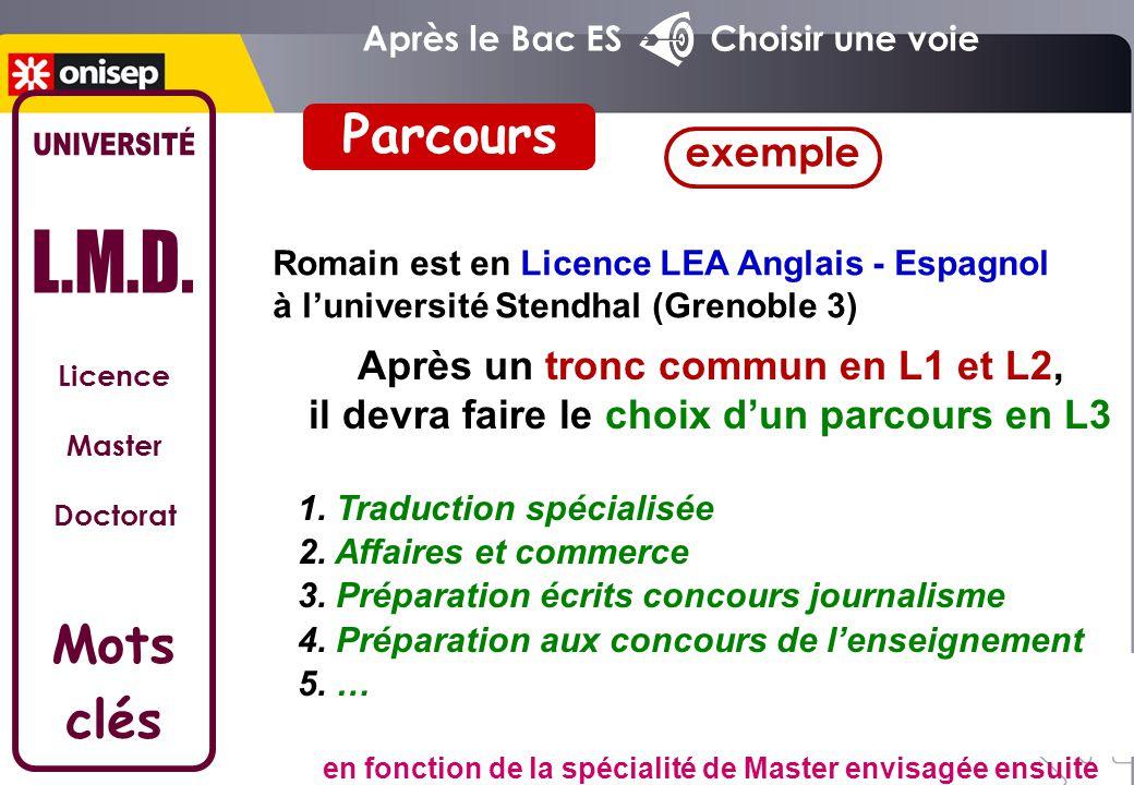 Licence Master Doctorat Mots clés Parcours Après un tronc commun en L1 et L2, il devra faire le choix d'un parcours en L3 1. Traduction spécialisée 2.