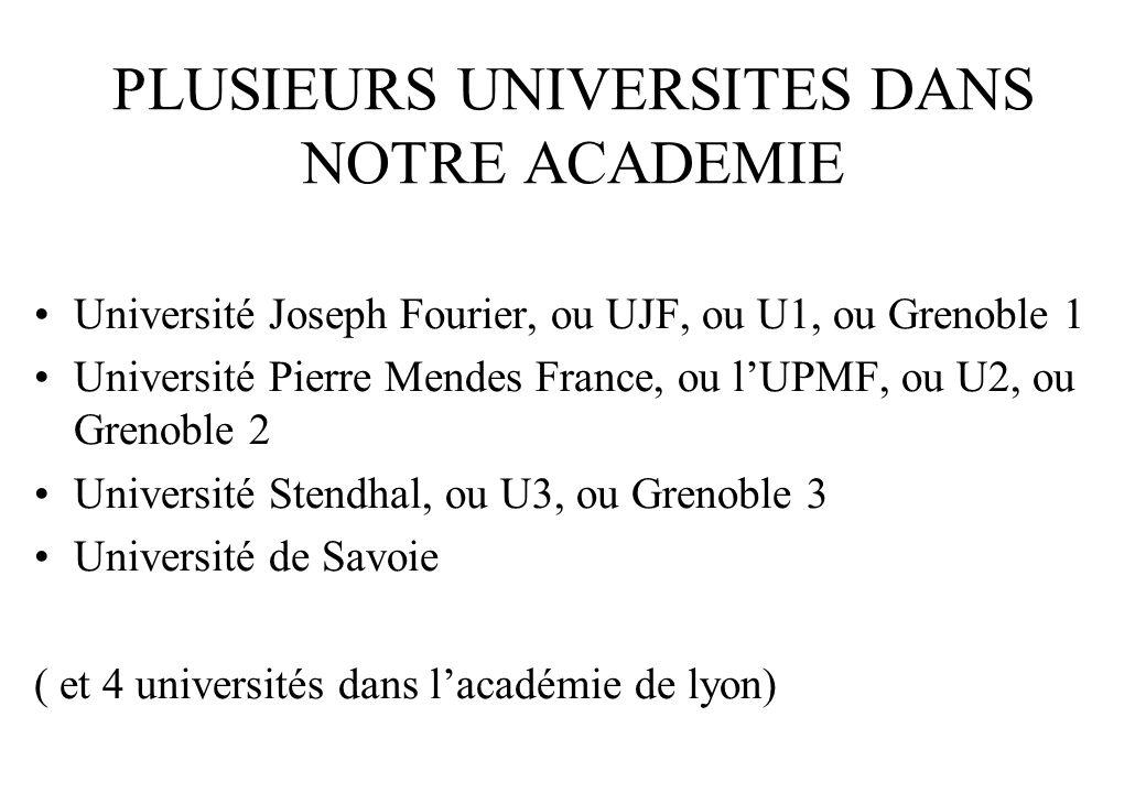 PLUSIEURS UNIVERSITES DANS NOTRE ACADEMIE •Université Joseph Fourier, ou UJF, ou U1, ou Grenoble 1 •Université Pierre Mendes France, ou l'UPMF, ou U2, ou Grenoble 2 •Université Stendhal, ou U3, ou Grenoble 3 •Université de Savoie ( et 4 universités dans l'académie de lyon)