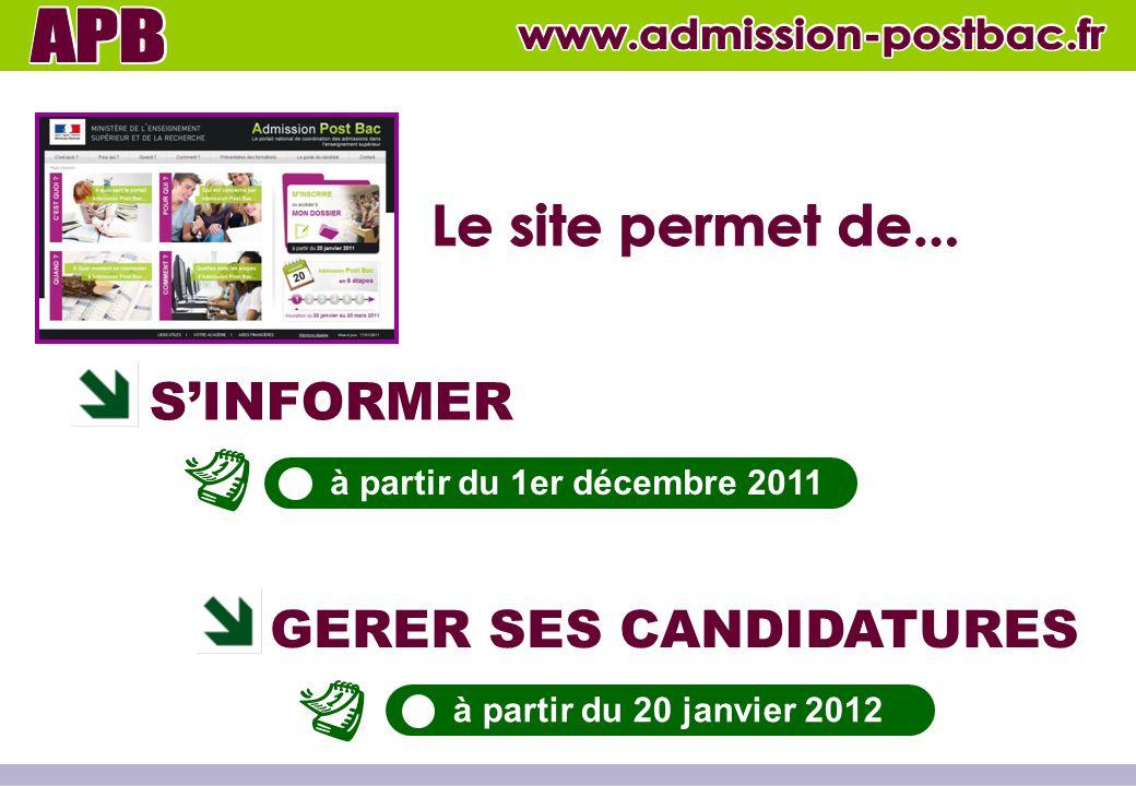 S'INFORMER GERER SES CANDIDATURES à partir du 1er décembre 2011 à partir du 20 janvier 2012