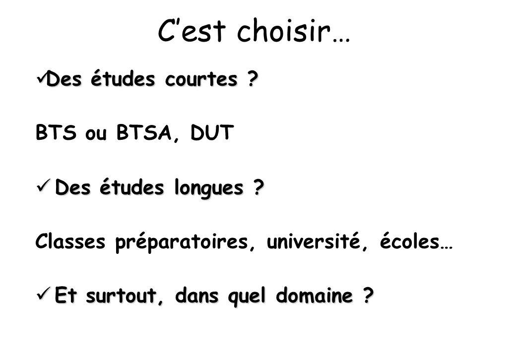 C'est choisir…  Des études courtes ? BTS ou BTSA, DUT  Des études longues ? Classes préparatoires, université, écoles…  Et surtout, dans quel domai