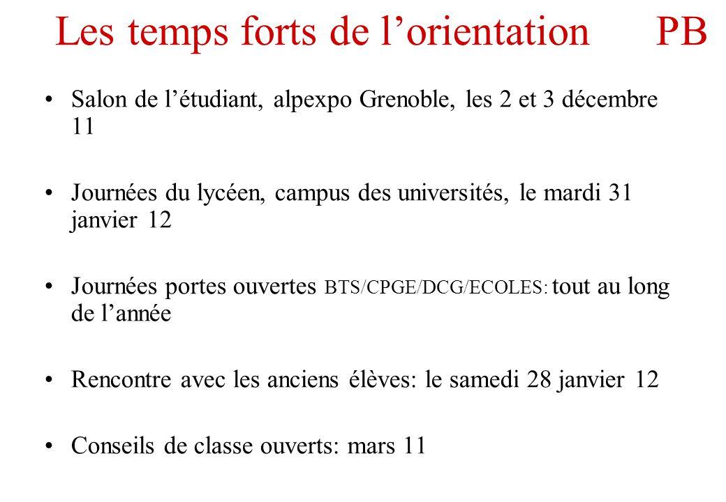 Les temps forts de l'orientation PB •Salon de l'étudiant, alpexpo Grenoble, les 2 et 3 décembre 11 •Journées du lycéen, campus des universités, le mar