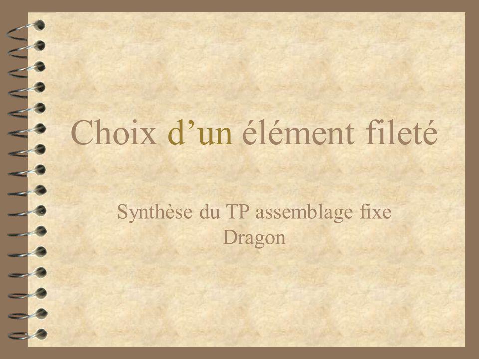 Choix d'un élément fileté Synthèse du TP assemblage fixe Dragon