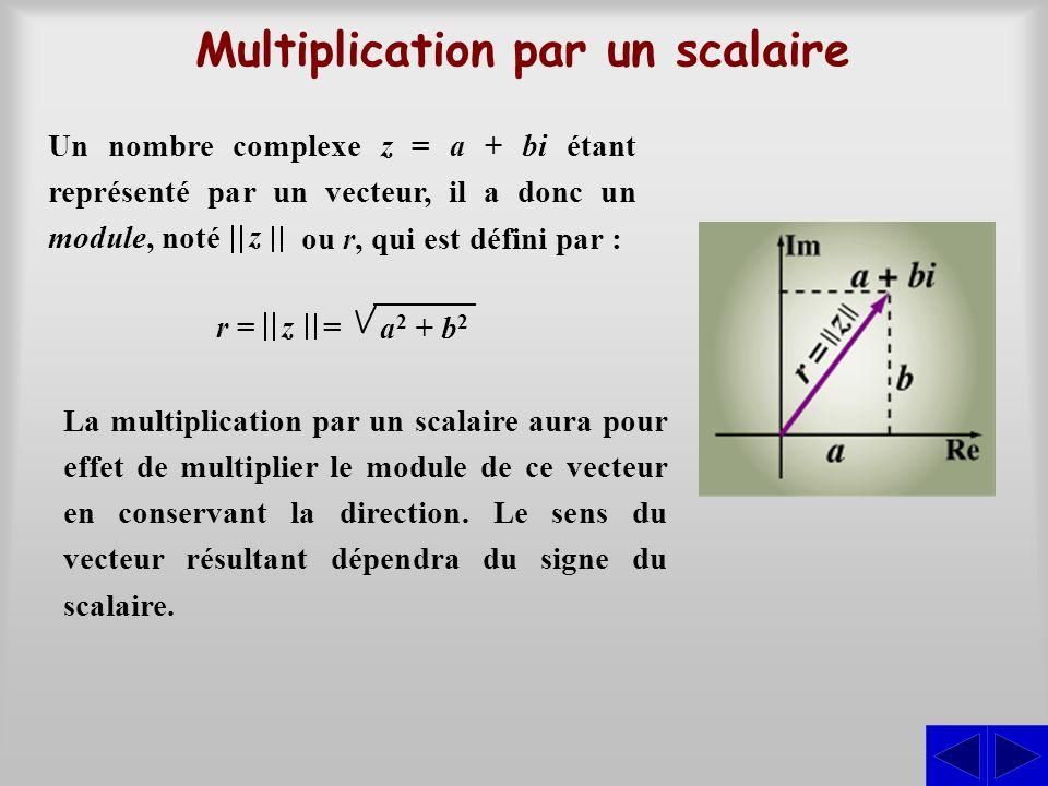 Multiplication par un scalaire Un nombre complexe z = a + bi étant représenté par un vecteur, il a donc un module, noté ou r, qui est défini par : z a