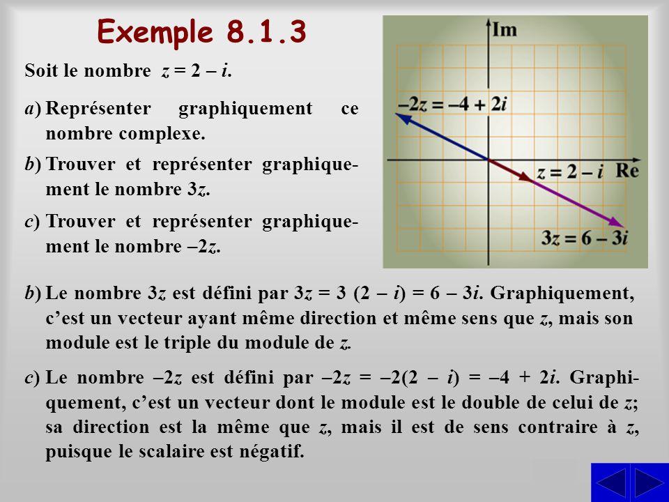 Exemple 8.1.3 S Soit le nombre z = 2 – i. a)Représenter graphiquement ce nombre complexe. b)Trouver et représenter graphique- ment le nombre 3z. c)Tro