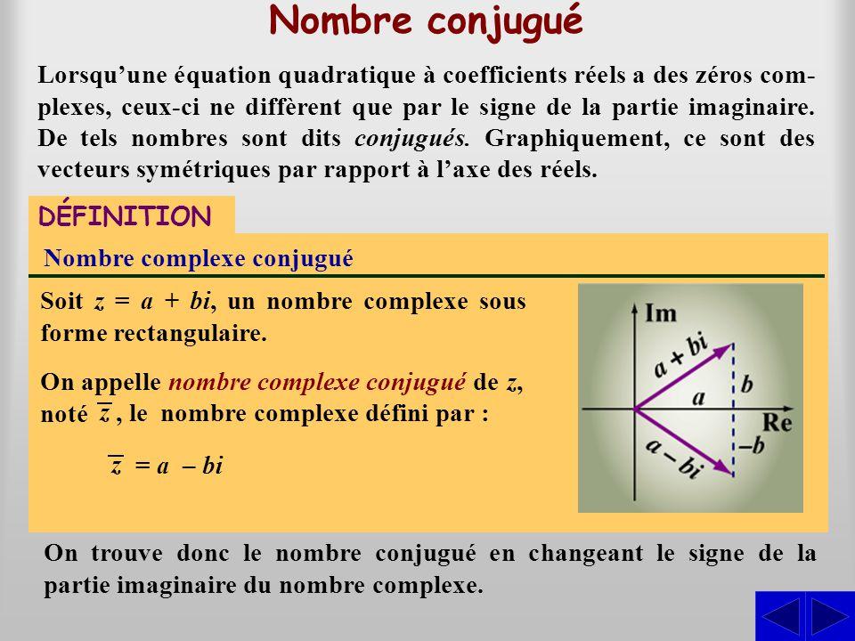 Nombre conjugué Lorsqu'une équation quadratique à coefficients réels a des zéros com- plexes, ceux-ci ne diffèrent que par le signe de la partie imagi