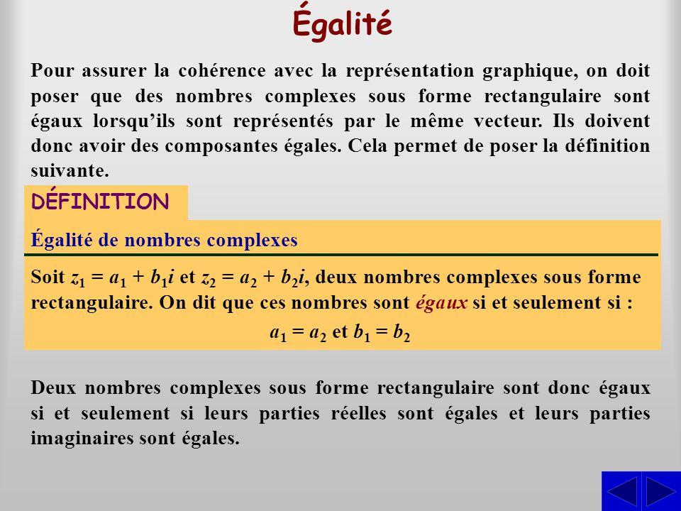 Égalité Égalité de nombres complexes Soit z 1 = a 1 + b 1 i et z 2 = a 2 + b 2 i, deux nombres complexes sous forme rectangulaire. On dit que ces nomb