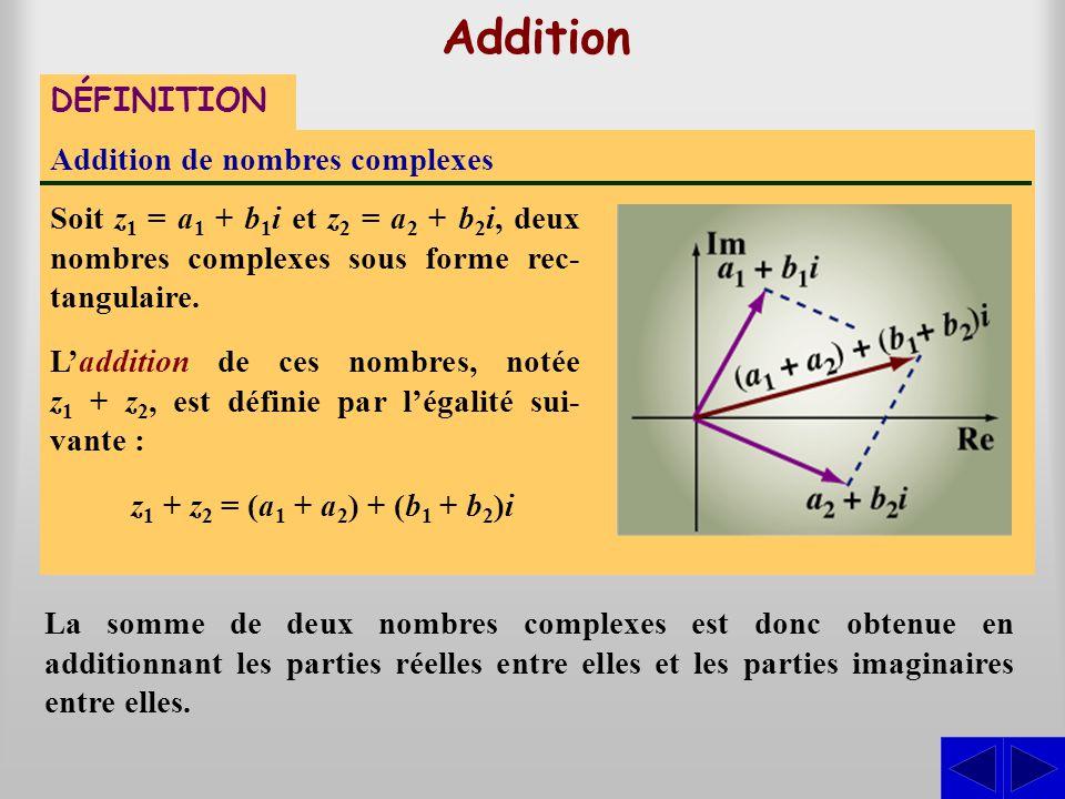Addition de nombres complexes Soit z 1 = a 1 + b 1 i et z 2 = a 2 + b 2 i, deux nombres complexes sous forme rec- tangulaire. DÉFINITION La somme de d