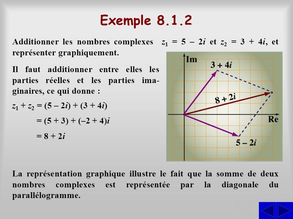 Exemple 8.1.2 S Additionner les nombres complexes z 1 = 5 – 2i et z 2 = 3 + 4i, et représenter graphiquement. Il faut additionner entre elles les part