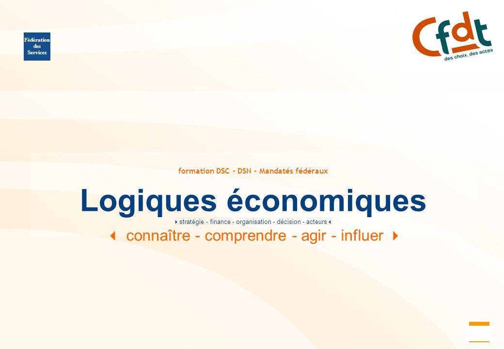 11 formation DSC - DSN - Mandatés fédéraux Logiques économiques  stratégie - finance - organisation - décision - acteurs   connaître - comprendre -
