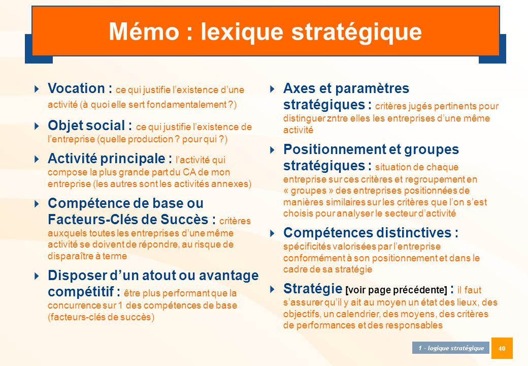 40 Mémo : lexique stratégique  Vocation : ce qui justifie l'existence d'une activité (à quoi elle sert fondamentalement ?)  Objet social : ce qui ju