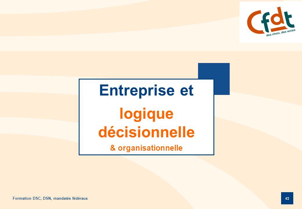 Formation DSC, DSN, mandatés fédéraux 42 Entreprise et logique décisionnelle & organisationnelle