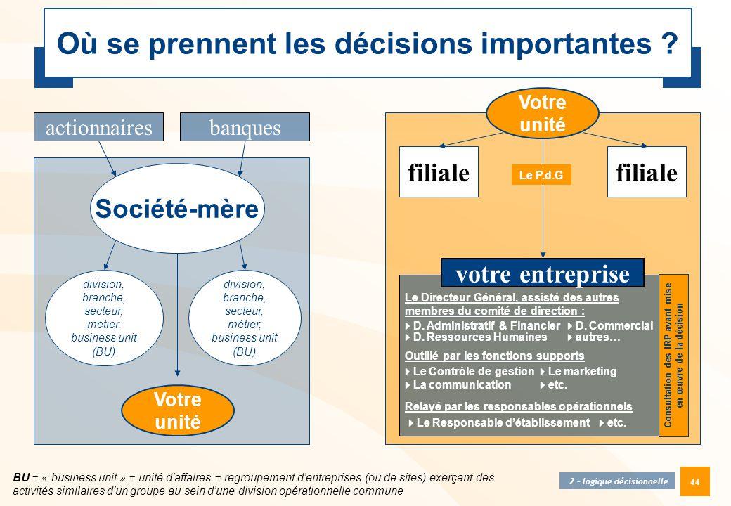 44 Où se prennent les décisions importantes ? division, branche, secteur, métier, business unit (BU) Société-mère BU = « business unit » = unité d'aff