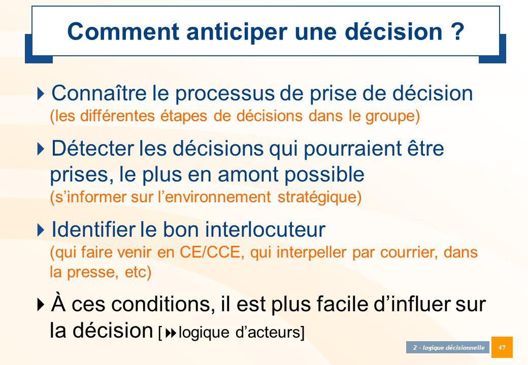 47 Comment anticiper une décision ?  Connaître le processus de prise de décision (les différentes étapes de décisions dans le groupe)  Détecter les