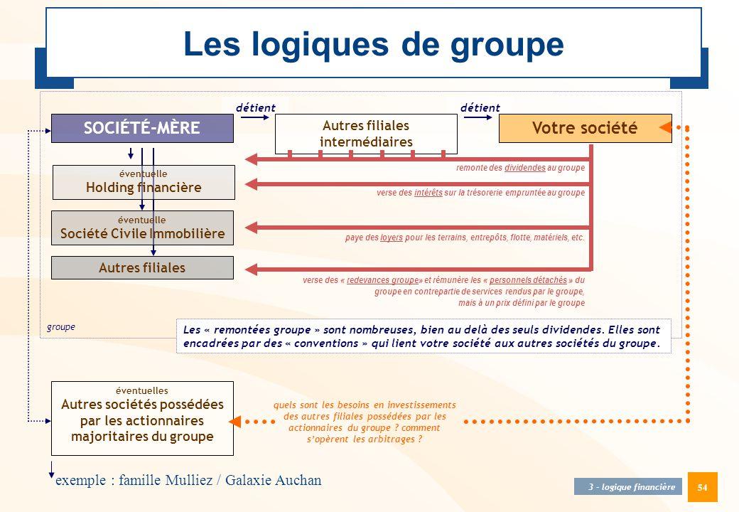 54 SOCIÉTÉ-MÈRE détient éventuelle Holding financière Votre société Autres filiales intermédiaires éventuelles Autres sociétés possédées par les actio
