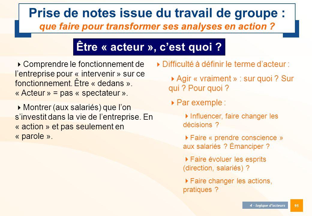 95 Prise de notes issue du travail de groupe : que faire pour transformer ses analyses en action ? 4 - logique d'acteurs  Comprendre le fonctionnemen