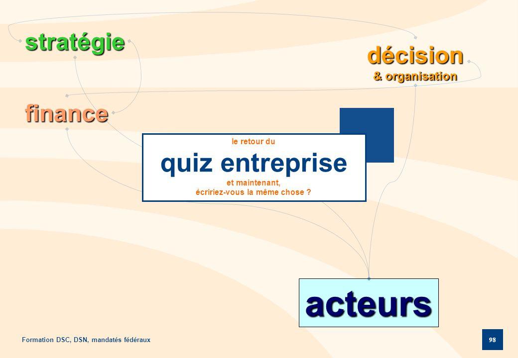 Formation DSC, DSN, mandatés fédéraux 98 décision & organisation acteurs stratégie finance le retour du quiz entreprise et maintenant, écririez-vous l