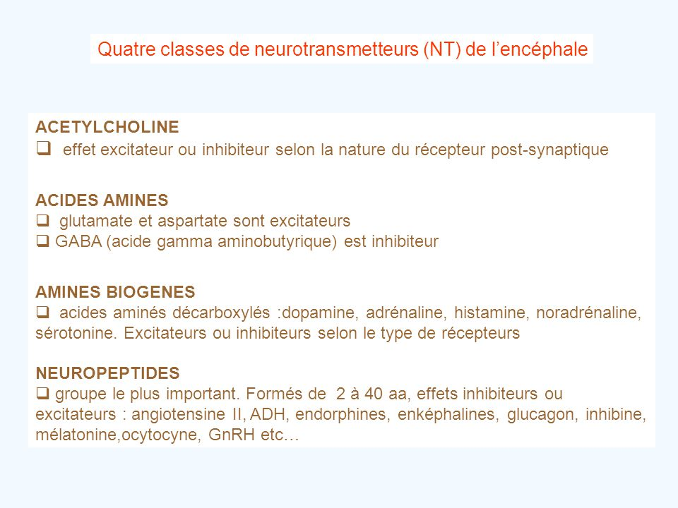 Quatre classes de neurotransmetteurs (NT) de l'encéphale ACETYLCHOLINE  effet excitateur ou inhibiteur selon la nature du récepteur post-synaptique A