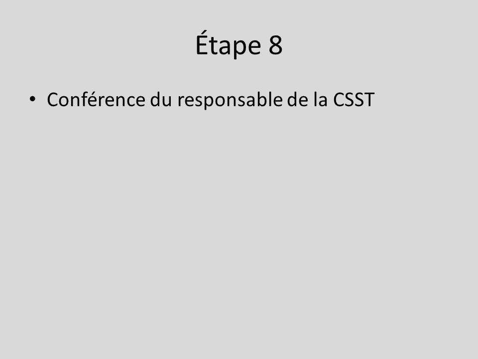Étape 8 • Conférence du responsable de la CSST