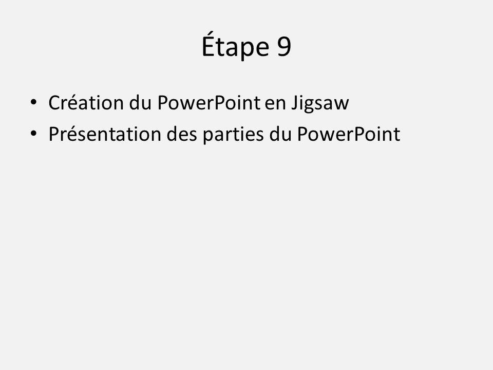Étape 9 • Création du PowerPoint en Jigsaw • Présentation des parties du PowerPoint