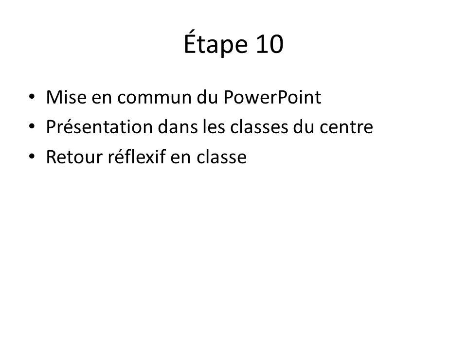 Étape 10 • Mise en commun du PowerPoint • Présentation dans les classes du centre • Retour réflexif en classe