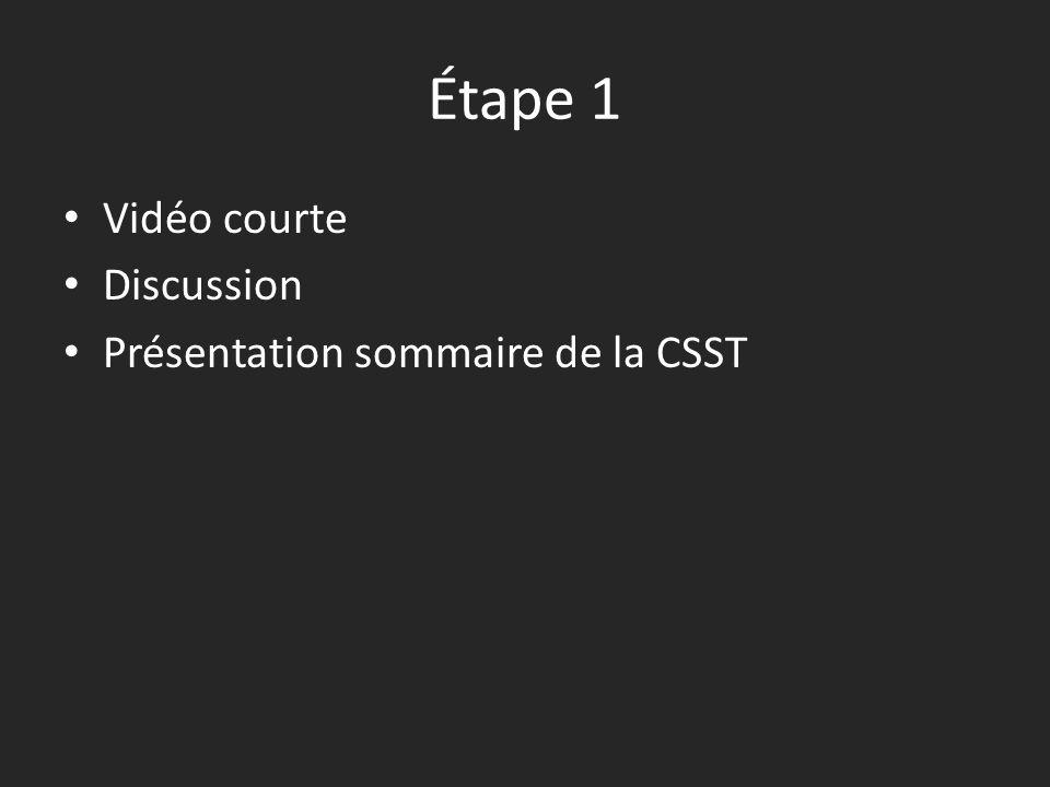 Étape 1 • Vidéo courte • Discussion • Présentation sommaire de la CSST