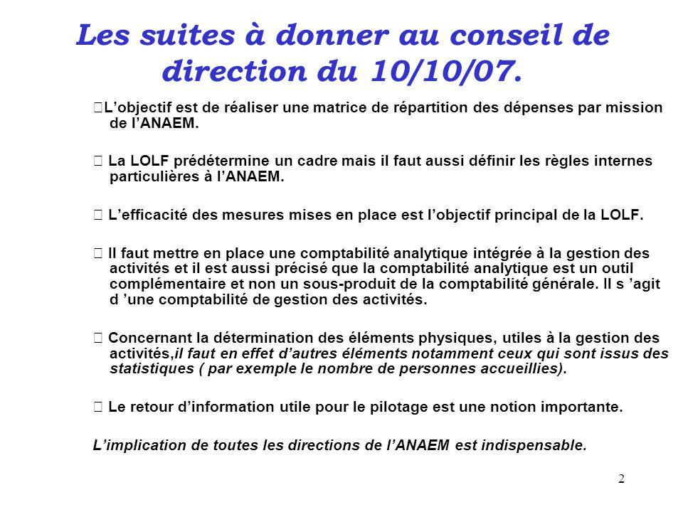 2 Les suites à donner au conseil de direction du 10/10/07. L'objectif est de réaliser une matrice de répartition des dépenses par mission de l'ANAEM.