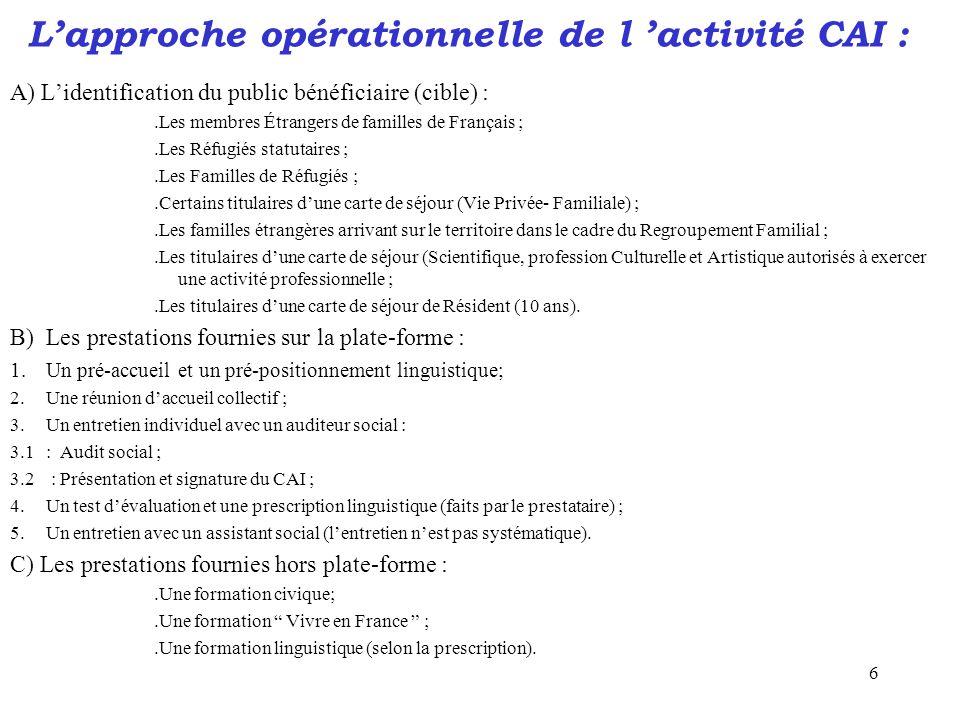 6 L'approche opérationnelle de l 'activité CAI : A) L'identification du public bénéficiaire (cible) :.Les membres Étrangers de familles de Français ;.