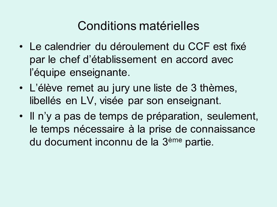 Conditions matérielles •Le calendrier du déroulement du CCF est fixé par le chef d'établissement en accord avec l'équipe enseignante.